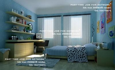 Blue romantique style chambre coucher moderne 3d model for Modele de chambre a coucher romantique