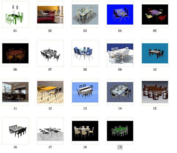 Table de salle manger chaises portefeuille 3d model for Salle a manger 3d gratuit