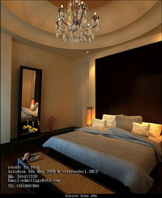 Avec un grand lit de la chambre des maîtres 3D Home 3D Model ...