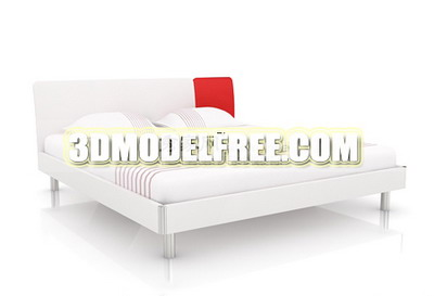 White Fashion Bed 3D Model of