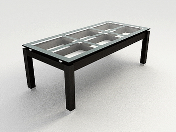Wood Glass Coffee Table 3D Model of