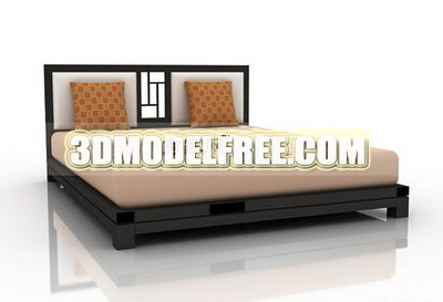 Table de meubles, armoires banc pratiques 3D Model of Bed