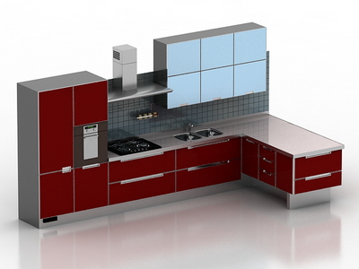 Mod le 3d de la cuisine tout rouge 3d model download free for Cuisine rouge 3d