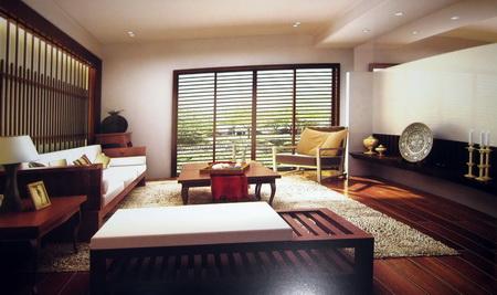 Moderne en bois salon retro y compris les mat riaux 3d for Model de salon moderne