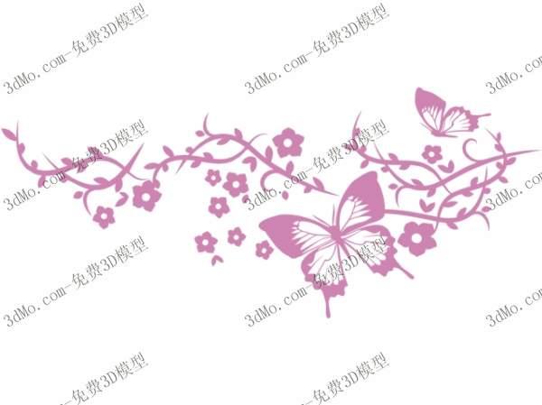 Mod le 3d de la peinture murale papillon mod le 3d model for Peinture murale motif