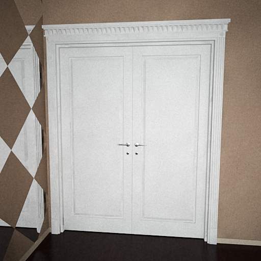 Mod le 3d de la porte blanche double 3d model download for Porte double en bois