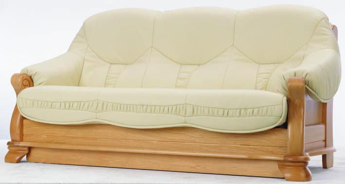 canap en cuir vert base en bois mod le 3d de trois personnes 3d model down. Black Bedroom Furniture Sets. Home Design Ideas