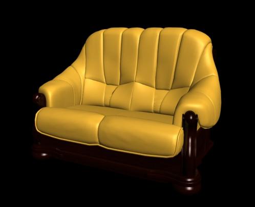 Chaise vintage cuir jaune mod le 3d de la seule 3d model for Chaise cuir jaune