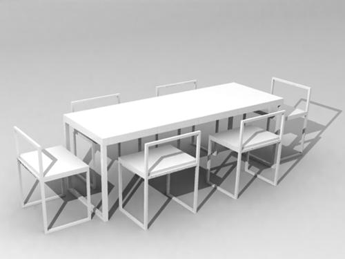 Mod le 3d de la salle manger rectangulaire blanc for Salle a manger 3d