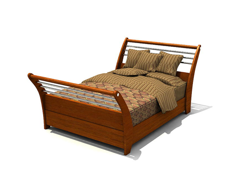 Mod le 3d du lit en bois massif traditionnel double 3d for Lit double bois massif