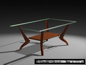 Bois du th¨¦ table en verre mod¨¨le 3D