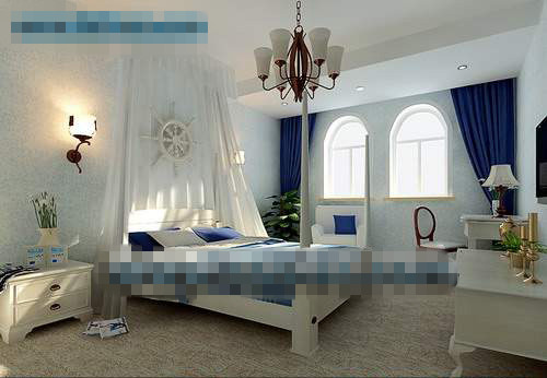 De style m diterran en mod le 3d chambre 3d model for Mediterranean style bedroom furniture