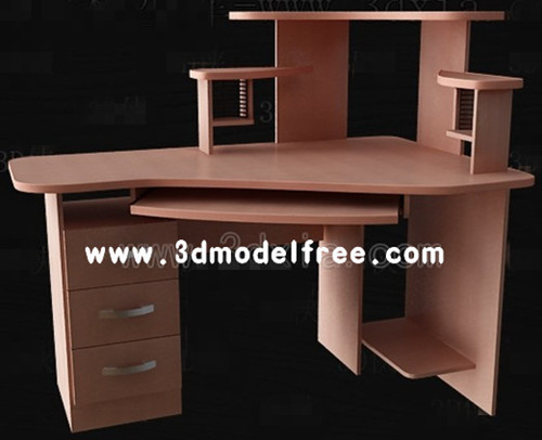 bureau de l 39 ordinateur polyvalent brown 3d model download free 3d models download. Black Bedroom Furniture Sets. Home Design Ideas