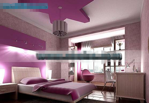 Chambre de style violet pentacle 3d model download free 3d - Chambre adulte violet ...