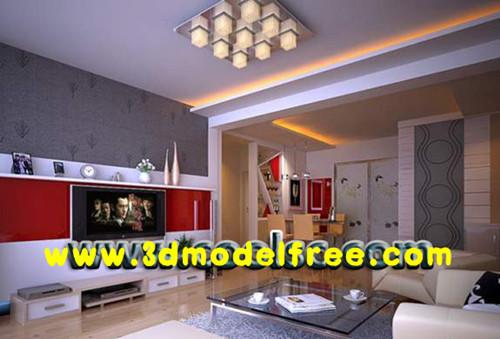 Moderne Rouge Salon Tv Murale 3d Model Download Free 3d Models Download