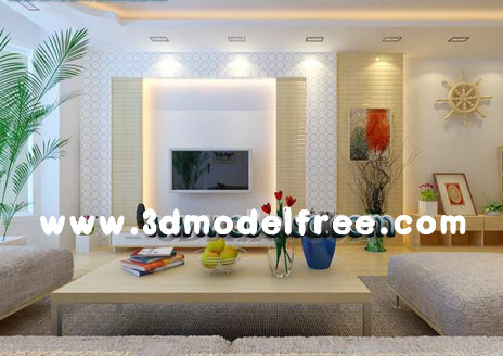 Le salon spacieux plein de lumi re 3d model download free for Model salon sejour