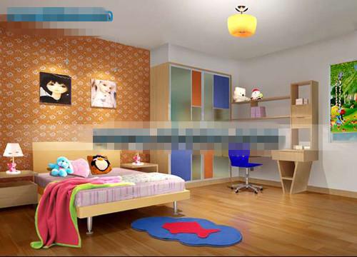Orange Belle Chambre Pour Enfant Mod¨¨le 3D 3D Model