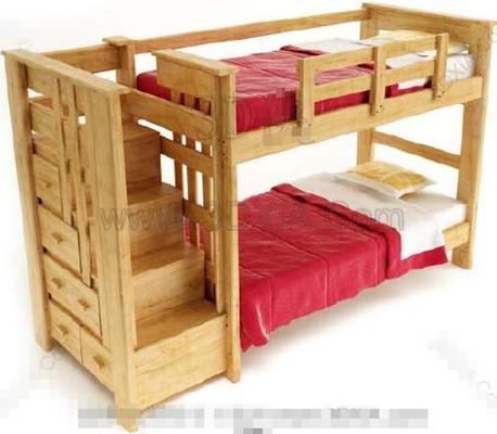 rouge de bois lit double enfants 3d model download free 3d models download. Black Bedroom Furniture Sets. Home Design Ideas