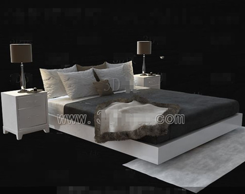 blanc lit simple double 3d model download free 3d models download. Black Bedroom Furniture Sets. Home Design Ideas