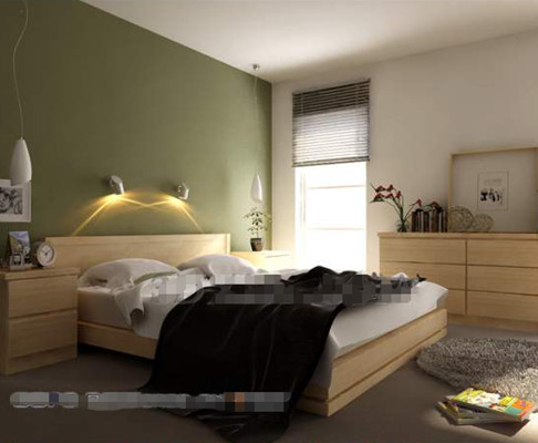 simple chambre verte mur du fond 3d model download free 3d On chambre a coucher simple