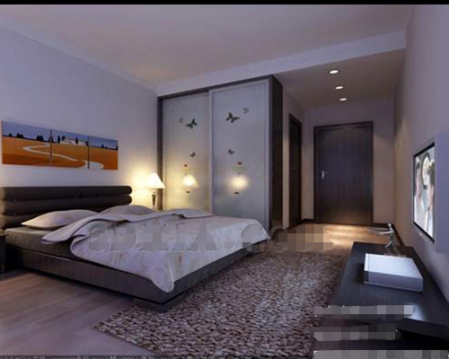 ultra simple chambre blanche et grise 3d model download. Black Bedroom Furniture Sets. Home Design Ideas