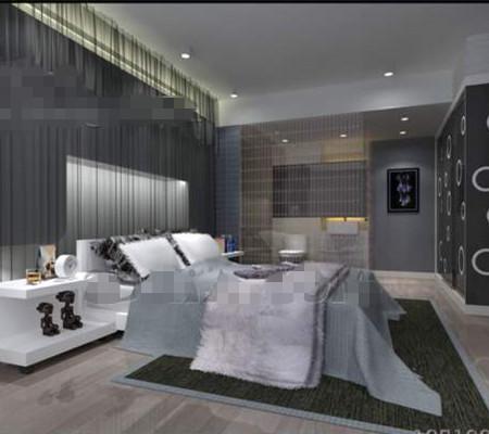 Moderne minimaliste gris argent chambre 3d model for Chambre adulte moderne design