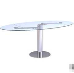 La table en verre transparent elliptique