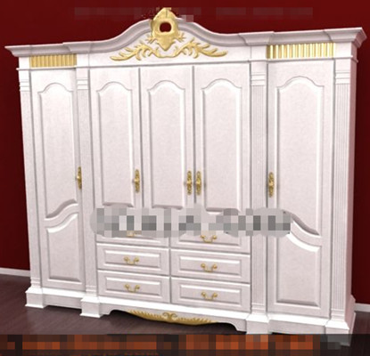 L 39 europ enne blanc quatre porte d 39 armoire 3d model for Porte 3ds max