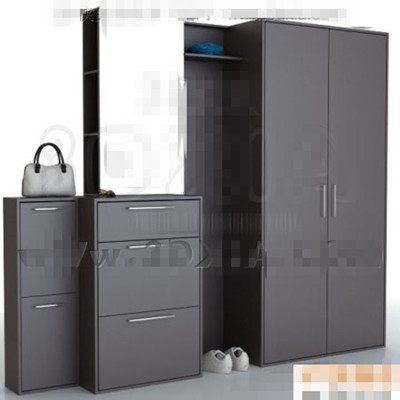 simple armoire combinaison noir et blanc 3d model download. Black Bedroom Furniture Sets. Home Design Ideas