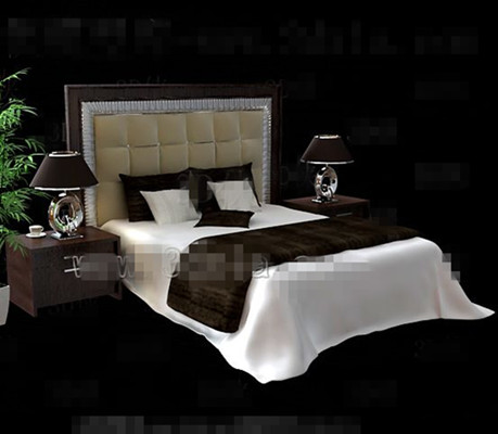 moderne brun lit double en bois 3d model download free 3d models download. Black Bedroom Furniture Sets. Home Design Ideas