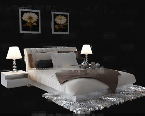 simple et confortable lit double blanc 3d model download free 3d models download. Black Bedroom Furniture Sets. Home Design Ideas