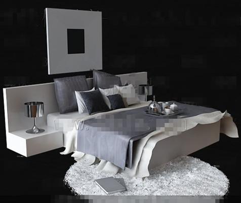 personnalit de la mode gris et blanc lit double 3d model download free 3d models download. Black Bedroom Furniture Sets. Home Design Ideas