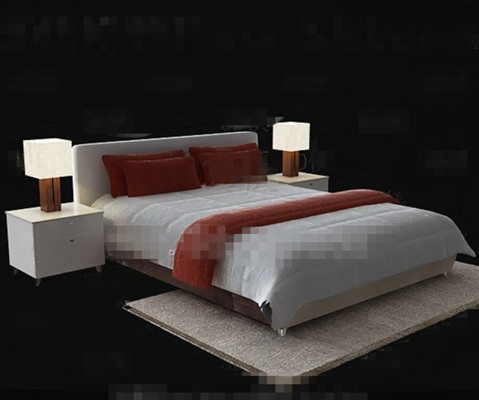 simple moderne lit double blanc 3d model download free 3d. Black Bedroom Furniture Sets. Home Design Ideas