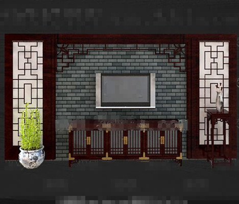 Chinoise style r¨¦tro mur rouge TV bois