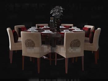 De Style Chinois Table En Bois 168 164 Manger Ronde 3d Model