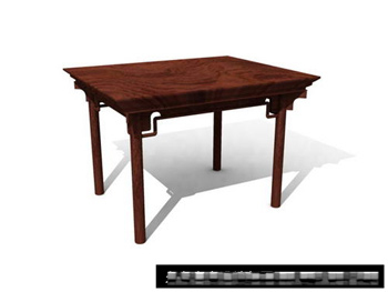 Mobilier chinois carr table en bois 3d model download for Mobilier chinois