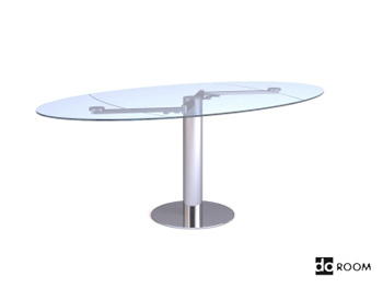 Table ovale en verre de surface