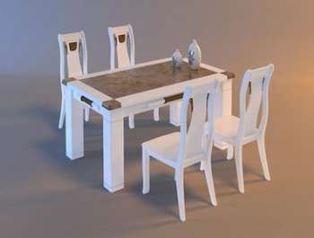 Tables De Bois Blanc Cuisine Salle Manger Et Chaises 3d Model Download Free 3d Models Download