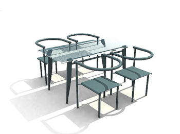 Blue glass 3D mod¨¨le de tables et de chaises ¨¦l¨¦gantes