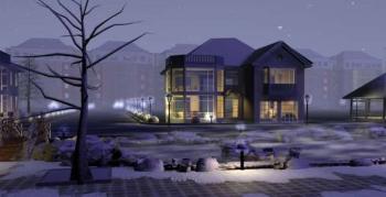 Paysage Architectural Moderne Villa Hiver 3d Model