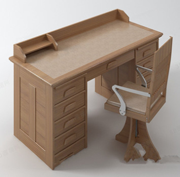 Modle De Bureau En Bois Massif 3D Model DownloadFree 3D