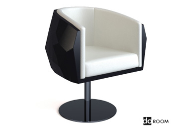 Noir et blanc chaise moderne salon tournant 3D Model ...