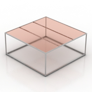 Table rose en verre transparent